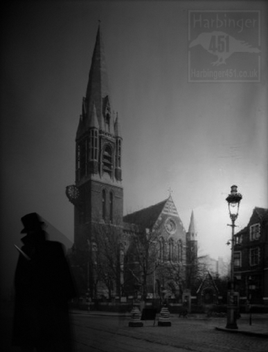 Jack the Ripper in front of St Mary's Church, Whitechapel